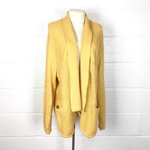 Yellow open front cardigan sz 1X sweater CJ Banks